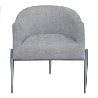 Armen Living Jolie Contemporary Accent Chair in Polished Stainless Steel Finish and Silver Fabric