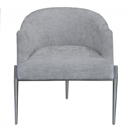 Jolie Contemporary Accent Chair in Polished Stainless Steel Finish and Silver Fabric