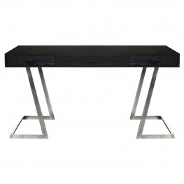 Juniper Contemporary Desk with Polished Stainless Steel Finish and Black Top