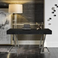 Armen Living Juniper Contemporary Desk with Polished Stainless Steel Finish and Black Top