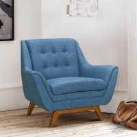 Janson Mid-Century Sofa Chair in Champagne Finish and Blue Fabric with Rubber Wood