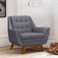 Janson Mid-Century Sofa Chair in Champagne Finish and Dark Grey Fabric with Rubber Wood