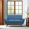 Janson Mid-Century Loveseat in Champagne Finish and Blue Fabric with Rubber Wood