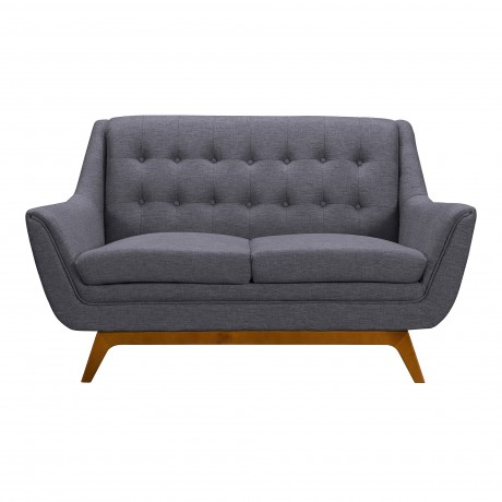 Janson Mid-Century Loveseat in Champagne Finish and Dark Grey Fabric with Rubber Wood