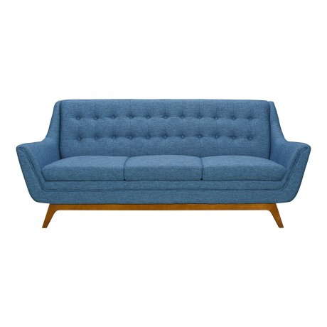 Janson Mid-Century Sofa in Champagne Finish and Blue Fabric with Rubber Wood