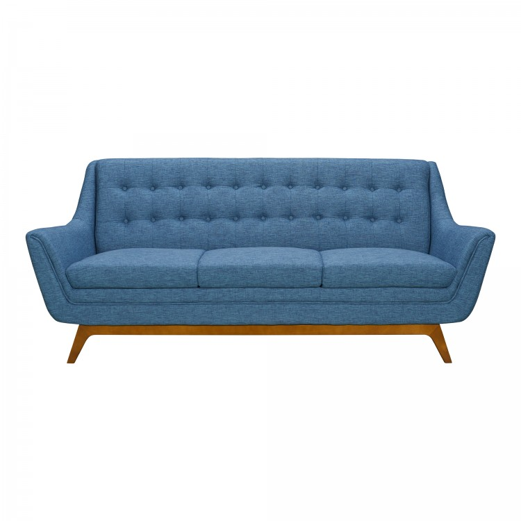 Janson Mid Century Sofa In Champagne Finish And Blue Fabric With Rubber Wood