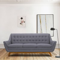 Janson Mid-Century Sofa in Champagne Finish and Dark Grey Fabric with Rubber Wood