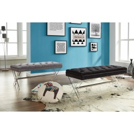 Joanna Ottoman Bench in Black Tufted Velvet with Crystal Buttons and Acrylic Legs