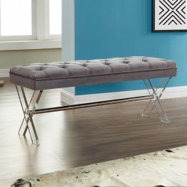 Joanna Ottoman Bench in Gray Tufted Velvet with Crystal Buttons and Acrylic Legs