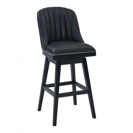 "Journey 30"" Bar Height Barstool in Black Wood Finish and Black Faux Leather"