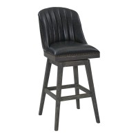"Journey 26"" Counter Height Barstool in American Grey Finish and Onyx Faux Leather"