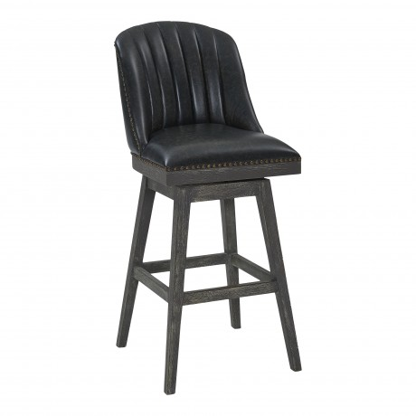 "Journey 30"" Bar Height Barstool in American Grey Finish and Onyx Faux Leather"