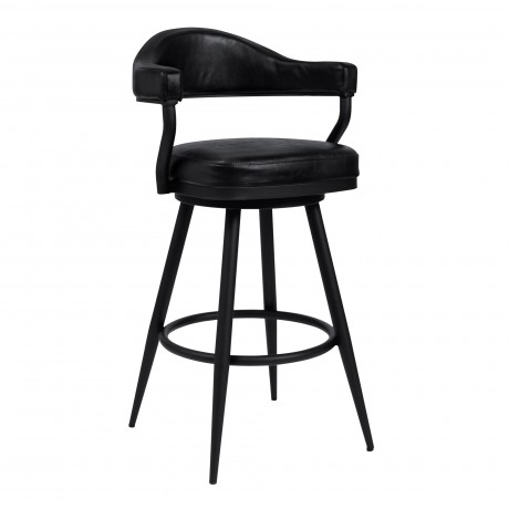 """Justin 26"""" Counter Height Barstool in a Black Powder Coated Finish and Vintage Black Faux Leather"""