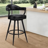"Armen Living Justin 26"" Counter Height Barstool in a Black Powder Coated Finish and Vintage Black Faux Leather"