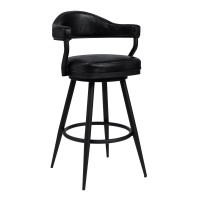 "Armen Living Justin 30"" Bar Height Barstool in a Black Powder Coated Finish and Vintage Black Faux Leather"