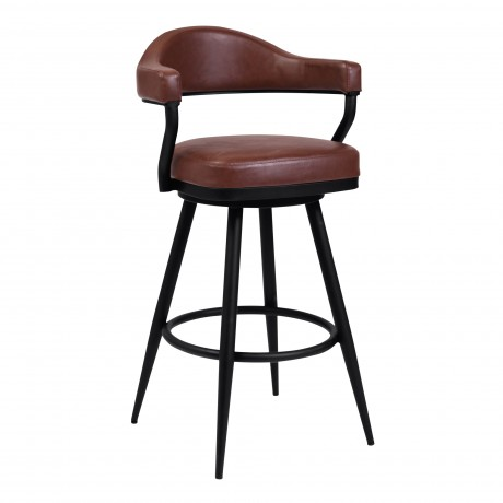 "Justin 30"" Bar Height Barstool in a Black Powder Coated Finish and Vintage Coffee Faux Leather"