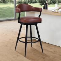 "Armen Living Justin 30"" Bar Height Barstool in a Black Powder Coated Finish and Vintage Coffee Faux Leather"