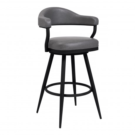 "Justin 30"" Bar Height Barstool in a Black Powder Coated Finish and Vintage Grey Faux Leather"