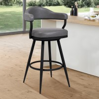 "Armen Living Justin 30"" Bar Height Barstool in a Black Powder Coated Finish and Vintage Grey Faux Leather"