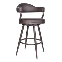 "Armen Living Justin 30"" Bar Height Barstool in a Brown Powder Coated Finish and Vintage Brown Faux Leather"