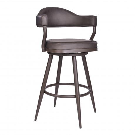 "Justin 30"" Bar Height Barstool in a Brown Powder Coated Finish and Vintage Brown Faux Leather"
