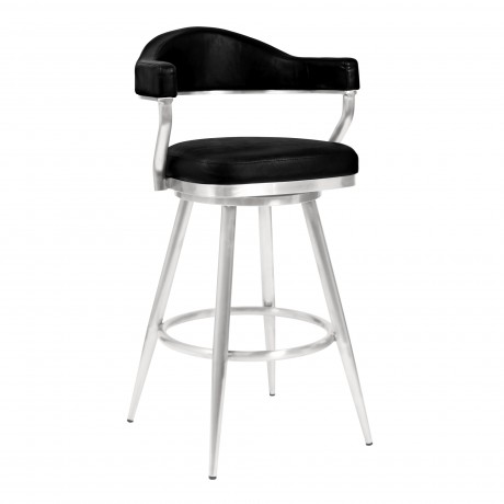 "Justin 30"" Bar Height Barstool in Brushed Stainless Steel and Vintage Black Faux Leather"