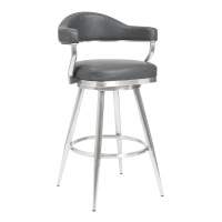 "Armen Living Justin 30"" Bar Height Barstool in Brushed Stainless Steel and Vintage Grey Faux Leather	643507356210"