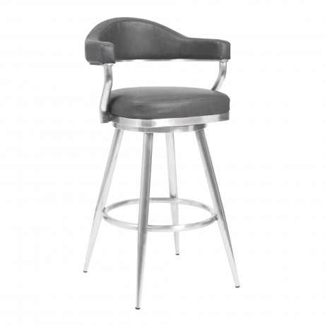 "Justin 30"" Bar Height Barstool in Brushed Stainless Steel and Vintage Grey Faux Leather	643507356210"