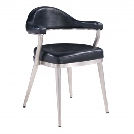 Justin Contemporary Dining Chair in Brushed Stainless Steel and Vintage Black Faux Leather - Set of 2