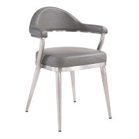 Justin Contemporary Dining Chair in Brushed Stainless Steel and Vintage Gray Faux Leather - Set of 2