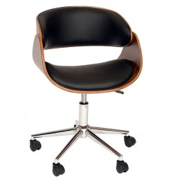 Armen Living Julian Modern Office Chair In Chrome Finish with Black Faux Leather And Walnut Veneer Back