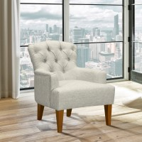 Jewel Mid-Century Accent Chair in Champagne Finish and Beige Fabric with Rubber Wood