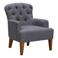 Jewel Mid-Century Accent Chair in Champagne Finish and Dark Grey Fabric with Rubber Wood