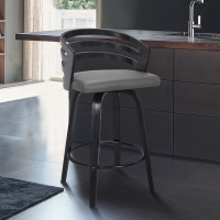 "Jayden Contemporary 26"" Counter Height Swivel Barstool in Black Brush Wood Finish and Grey Faux Leather"