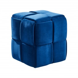 Armen Living Joy Contemporary Short Ottoman in Blue Velvet