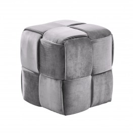 Armen Living Joy Contemporary Short Ottoman in Gray Velvet