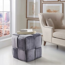 Joy Contemporary Short Ottoman in Gray Velvet