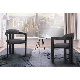 Jazmin Contemporary Dining Chair in Black Brushed Wood Finish and Charcoal Fabric - Set of 2