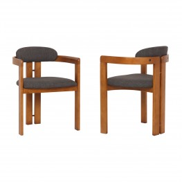 Jazmin Contemporary Dining Chair in Walnut Wood Finish and Charcoal Fabric (Set of 2)