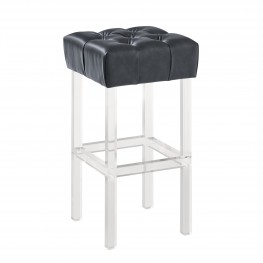 "Kara Contemporary 30"" Bar Height Barstool in Grey Faux Leather with Acrylic Legs"