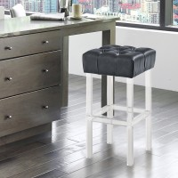 """Armen Living Kara Contemporary 30"""" Bar Height Barstool in Grey Faux Leather with Acrylic Legs"""