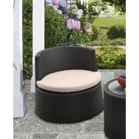 Armen Living Kailani Outdoor WickerPatio Chair with Water Resistant Beige Fabric Cushions - Set of 2