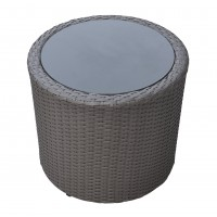 Armen Living Kailani Outdoor WickerPatio Table with Black Glass Top