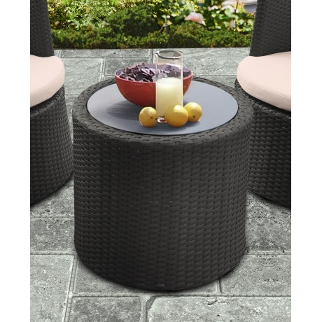 Armen Living Kailani Outdoor Wicker Patio Table with Black Glass Top