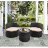 Kailani Outdoor Wicker Patio Table with Black Glass Top
