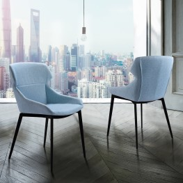 Kenna Contemporary Dining Chair in Matte Black Finish and Blue Fabric - Set of 2