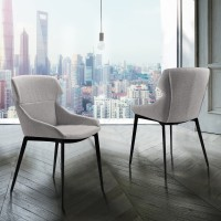 Kenna Contemporary Dining Chair in Matte Black Finish and Gray Fabric - Set of 2