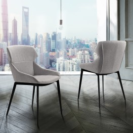 Kenna Modern Dining Chair in Matte Black Finish and Gray Fabric - Set of 2