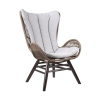 King Indoor Outdoor Lounge Chair in Dark Eucalyptus Wood with Truffle Rope and Grey Cushion
