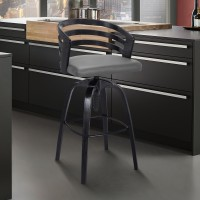 Kiara Contemporary Adjustable Barstool in Black Brushed Wood Finish and Grey Faux Leather